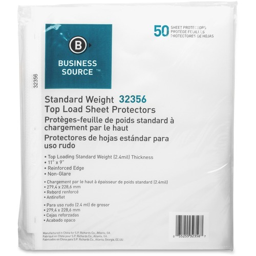 """Business Source Nonglare Top-loading Sheet Protectors - 11"""" Height x 9"""" Width - 0"""" Thickness - For Letter 8 1/2"""" x 11"""" Sheet - Rectangular - Clear - Polypropylene - 50 / Pack"""