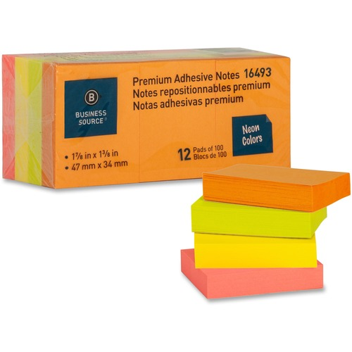 """Business Source Premium Repostionable Adhesive Notes - 1.50"""" x 2"""" - Rectangle - Unruled - Neon - Self-adhesive, Repositionable, Solvent-free Adhesive"""