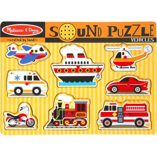 Melissa & Doug Vehicles Sound Puzzle - Theme/Subject: Transportation - 3+8 Piece