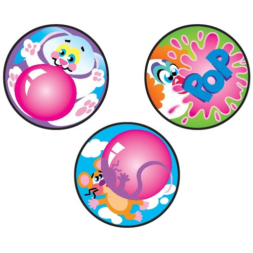 """Trend Blowing Bubbles, Bubblegum scent Scratch 'n Sniff Stinky Stickers - Large Round - Accomplishment, Fun Theme/Subject - Acid-free, Non-toxic, Photo-safe - 1"""" (25.4 mm) Diameter - 60 / Pack"""