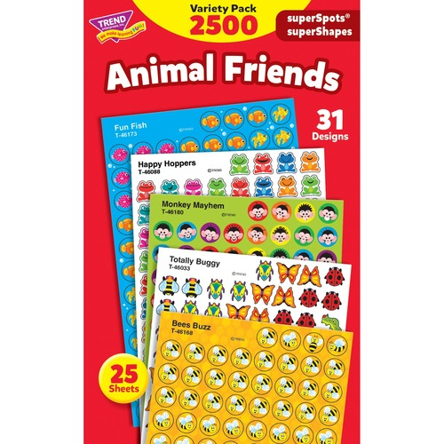 """Trend Animal Friends superSpots Stickers Variety Pack - Accomplishment Theme/Subject - Acid-free, Non-toxic, Photo-safe - 0.44"""" (11.1 mm) Length - 2500 / Pack"""