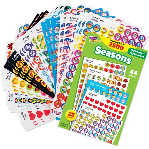 """Trend Seasons superSpots & superShapes Stickers Variety Pack - Fun Theme/Subject - Acid-free, Non-toxic, Photo-safe - 0.44"""" (11.1 mm) Length - 2500 / Pack"""