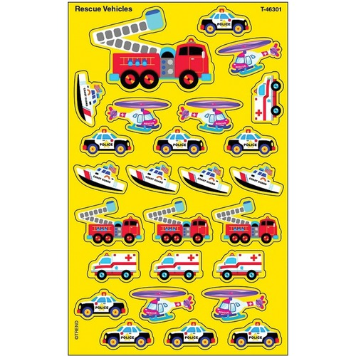 Trend Rescue Vehicles superShapes Stickers - Large - Vehicle, Fun Theme/Subject - Acid-free, Non-toxic, Photo-safe - 208 / Pack