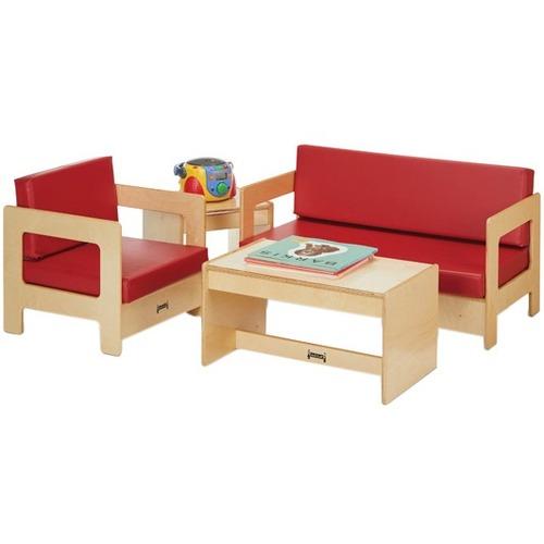 "Jonti-Craft Living Room 4 Piece Set - Blue - 37.5"" x 20"" x 20"" Couch, 19.5"" x 20"" x 20"" Chair, 25"" x 15.5"" x 13"" Coffee Table, 15"" x 15.5"" x 13"" End Table - Material: Baltic Birch Frame - Finish: Blue Cushion"