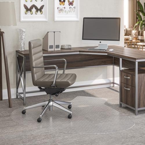 "Deflecto SuperMat for Carpet - Carpeted Floor - 66"" Length x 60"" Width - Lip Size 12"" Length x 20"" Width - Vinyl - Clear"
