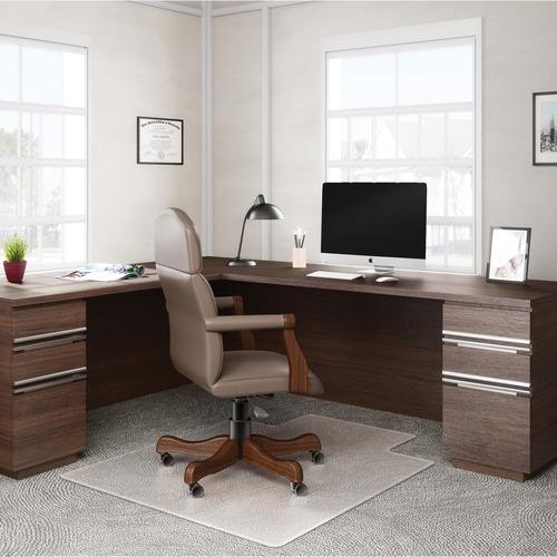 "Deflecto RollaMat for Carpet - Home, Office, Carpet - 60"" Length x 46"" Width - Lip Size 12"" Length x 25"" Width - Rectangle - Textured - Vinyl - Clear"