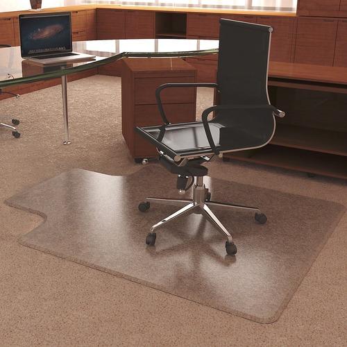 "Deflecto UltraMat for Carpet - Carpeted Floor - 53"" Length x 45"" Width - Lip Size 12"" Length x 25"" Width - Vinyl - Clear"