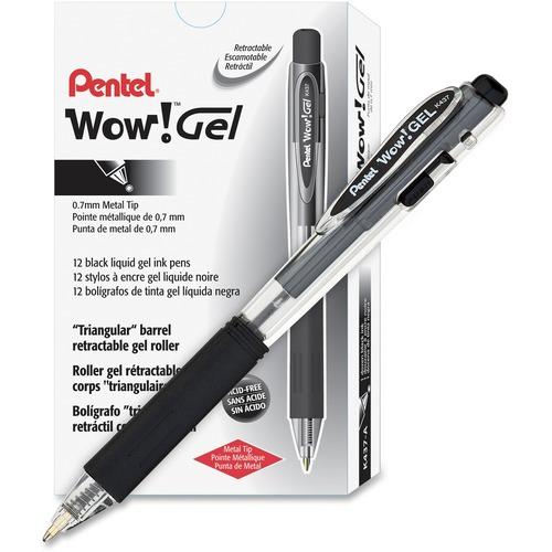 Pentel Wow! Gel Pens - Medium Pen Point - 0.7 mm Pen Point Size - Retractable - Black Gel-based Ink - Clear Barrel - 12 / Dozen