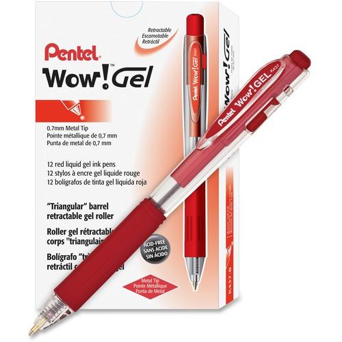 Pentel Wow! Gel Pens - Medium Pen Point - 0.7 mm Pen Point Size - Retractable - Red Gel-based Ink - Clear Barrel - 12 / Dozen