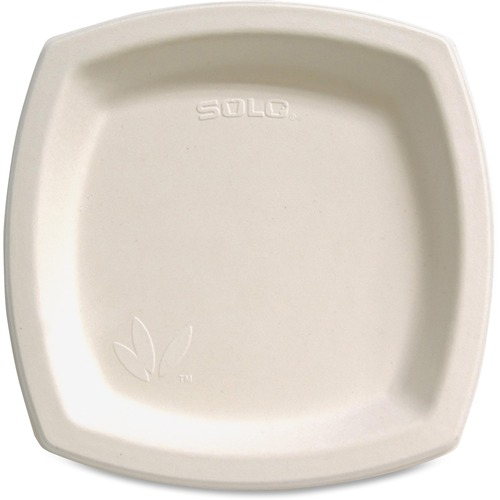 """Solo Cup Bare Sugar Cane Plates - 8.25"""" (209.55 mm) Diameter Plate - Off White - 125 Piece(s) / Pack"""