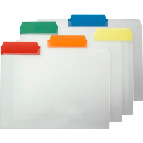 """Smead Heavy-duty Poly File Folders - Letter - 8 1/2"""" x 11"""" Sheet Size - 1/3 Tab Cut - Top Tab Location - Assorted Position Tab Position - Poly - Blue,"""
