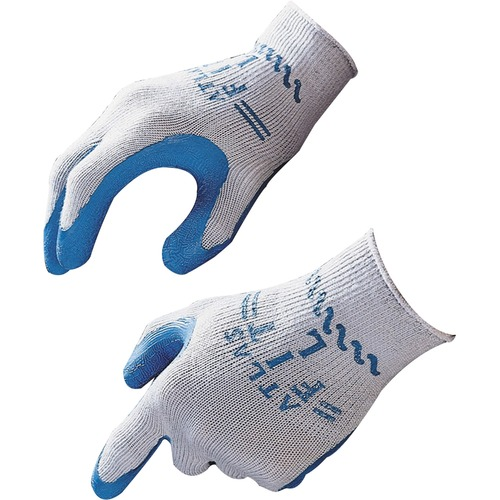 Showa Atlas Fit General Purpose Gloves - Large Size - Rubber, Cotton Liner, Polyester Liner - Blue, Gray - Lightweight, Elastic Wrist - 2 / Pair