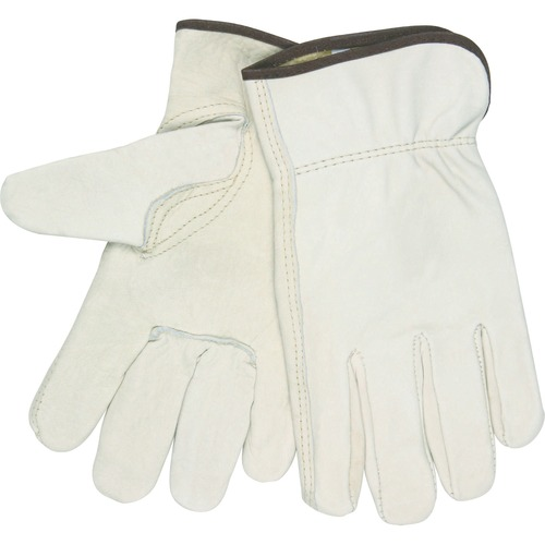MCR Safety Leather Driver Gloves - X-Large Size - Leather - Beige - 2 / Pair