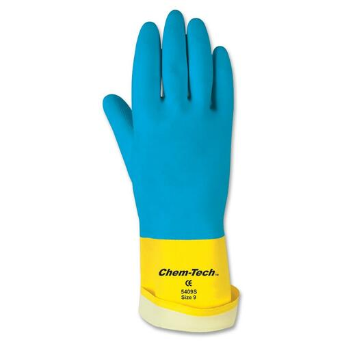MCR Safety Neoprene Chem-Tech Gloves - Large Size - Rubber, Neoprene - Blue - Seamless - For Assembling, Manufacturing - 24 / Carton - 28 mil Thickness