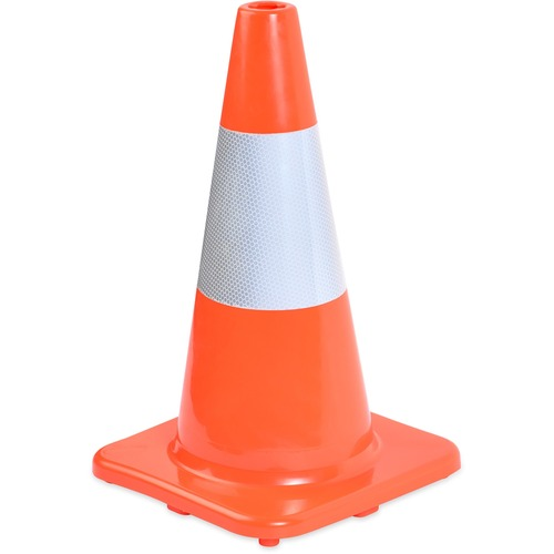 Tatco Sturdy Molded Reflective Traffic Cone - 1 Each - Cone Shape - Reflective Paint, Stackable - Polyvinyl Chloride (PVC) - Orange