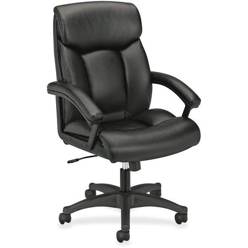 "HON High-Back Executive Chair - SofThread Leather Black Seat - Black Frame - 5-star Base - 20.5"" Seat Width x 18.6"" Seat Depth - 27"" Width x 37.5"" Dep"