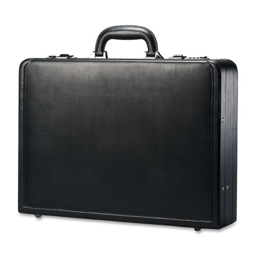"Leather Attache, 17-7/8""x4-1/4""x13"", Black"