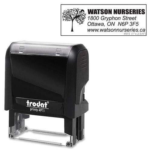 "Trodat Climate Neutral 4915 Self-inking Stamp - 2.76"" (70 mm) Impression Width x 0.98"" (25 mm) Impression Length - Black - 1 Each"