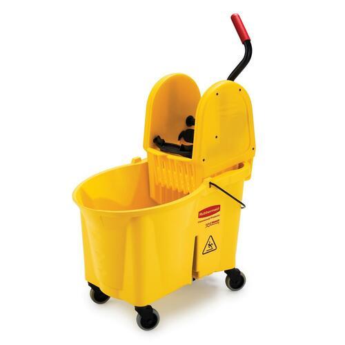 "Rubbermaid WaveBrake Down Press Combo Mop Bucket - 33.12 L - 20"" (508 mm) x 36.50"" (927.10 mm) x 15.75"" (400.05 mm) - Yellow - 1 Each"