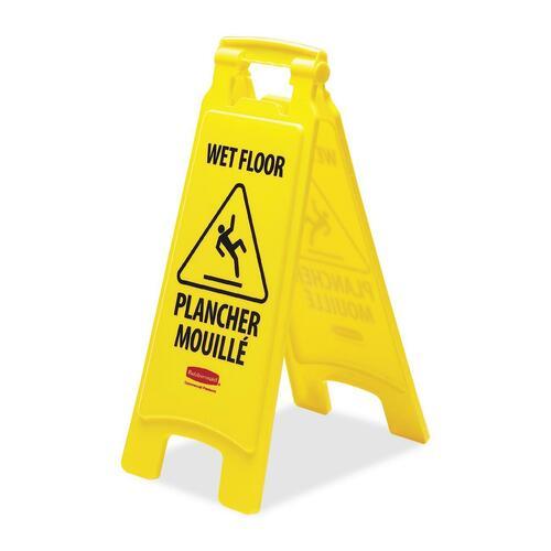 "Rubbermaid Wet Floor Caution Sign - 1 Each - Caution Wet Floor Print/Message - 11"" (279.40 mm) Width x 25"" (635 mm) Height - Rectangular Shape - Foldable, Self-standing - Yellow"