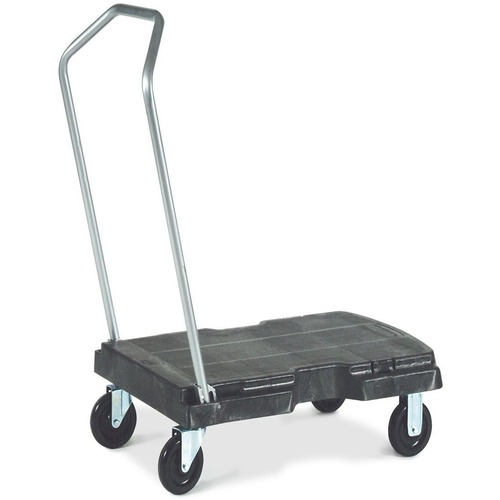 """Rubbermaid Triple Trolley with User Friendly Handle - Folding Handle - 226.80 kg Capacity - 4 Casters - 0.88"""" (22.23 mm) Caster Size - Plastic - 32"""" Length x 20.5"""" Width Height - Black - 1 Each"""