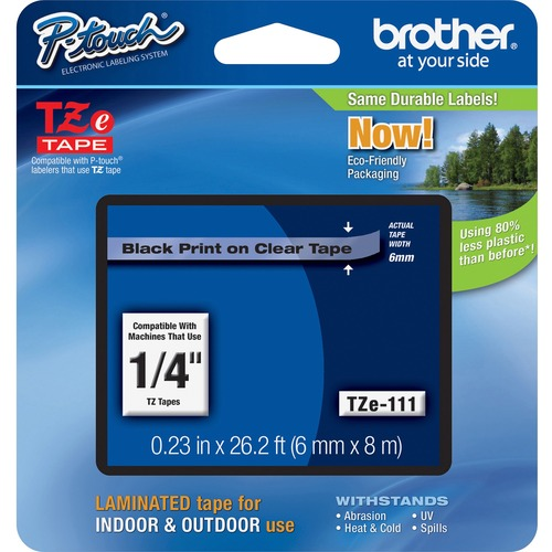 """Brother P-touch TZe Laminated Tape Cartridges - 15/64"""" - Clear, Black - 1 Each"""