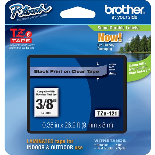 """Brother P-touch TZe Laminated Tape Cartridges - 3/8"""" - Clear - 1 Each"""