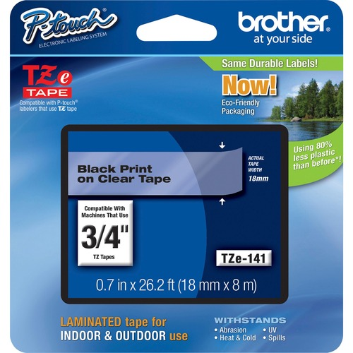 """Brother P-Touch TZe Flat Surface Laminated Tape - 3/4"""" - Clear - 1 Each"""