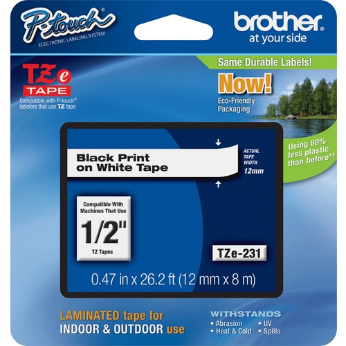 """Brother P-touch TZe Laminated Tape Cartridges - 15/32"""" - Rectangle - White - 1 Each"""