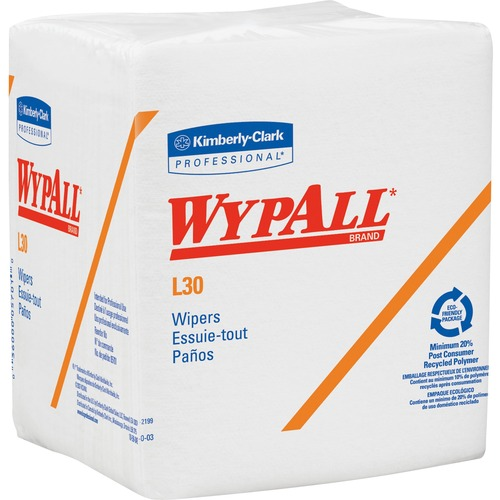 """Kimberly-Clark L30 Light Duty Wipers - 12.5"""" x 12"""" - White - For Face, Hand - 1080 Per Case - 1 / Carton"""