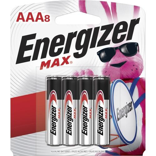 Energizer MAX Alkaline AAA Batteries, 8 Pack - For Multipurpose - AAA - 1.5 V DC - Alkaline Manganese Dioxide - 8 / Pack