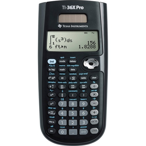 "Texas Instruments TI-36X Pro Scientific Calculator - 4 Line(s) - 16 Digits - LCD - Battery/Solar Powered - 0.8"" x 3.3"" x 7.3"" - Black - 1 Each"