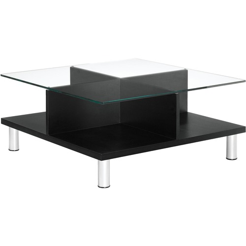 """Global Citi Coffee Table - Clear Square Top - Four Leg Base - 4 Legs x 33"""" Table Top Width x 33"""" Table Top Depth x 0.4"""" Table Top Thickness - 15"""" Height - Chrome"""
