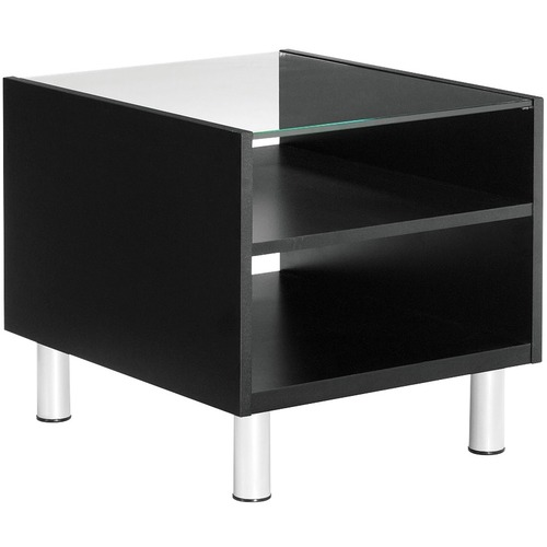 """Global Citi End Table - Clear Rectangle Top - Four Leg Base - 4 Legs x 20"""" Table Top Width x 24"""" Table Top Depth x 0.4"""" Table Top Thickness - 20"""" Height"""