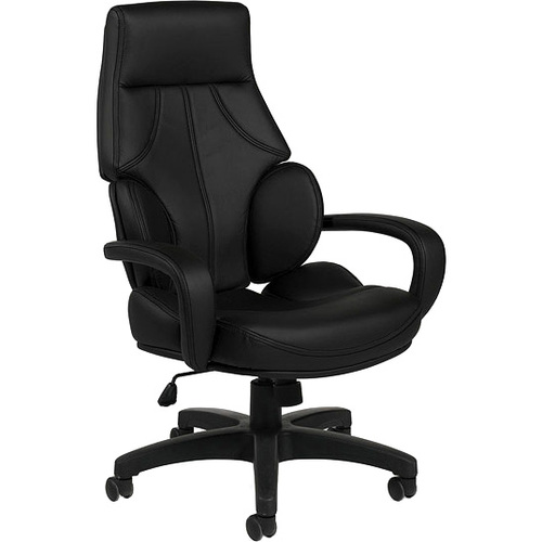 Offices To Go Wing Back Tilter Executive Chair - Black Polyurethane Seat - 5-star Base - 1 Each