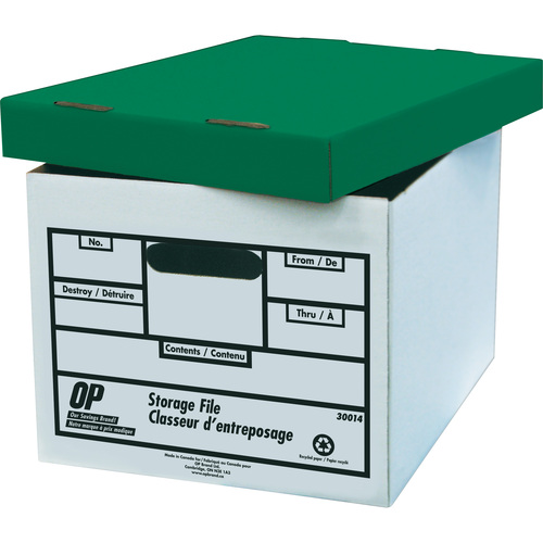 """OP Brand Storage Box - 400 lb - Stackable - External Dimensions: 12"""" width x 15"""" depth x 10"""" height - White with Green Lid - File"""