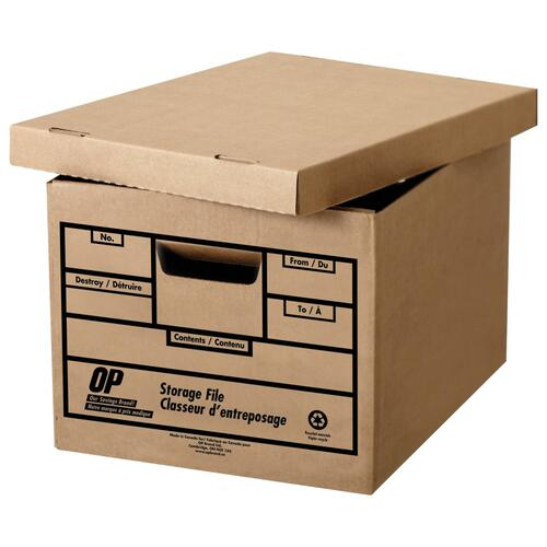 """OP Brand Recycled Storage Box - 400 lb - Stackable - External Dimensions: 12"""" width x 15"""" depth x 10"""" height - 100% Recycled - File"""