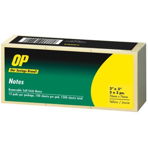 """OP Brand Adhesive Note Pad - 3"""" x 3"""" - Square - Unruled - Yellow - Self-adhesive, Repositionable - 12 / Pack"""