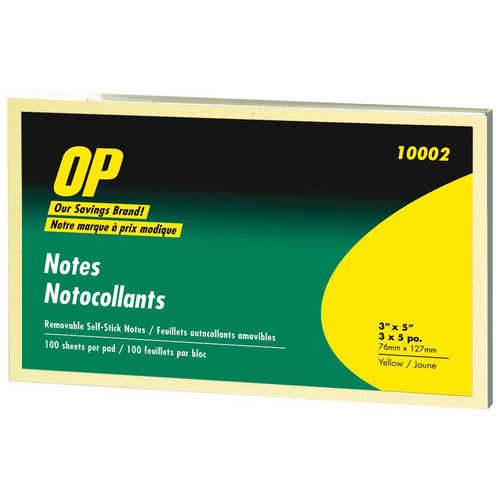 """OP Brand Adhesive Note Pad - 3"""" x 5"""" - Rectangle - Unruled - Yellow - Self-adhesive, Repositionable - 5 / Pack"""