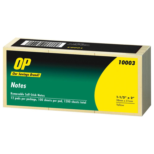 """OP Brand Adhesive Note Pad - 1.50"""" x 2"""" - Rectangle - Unruled - Yellow - Self-adhesive, Repositionable - 12 / Pack"""