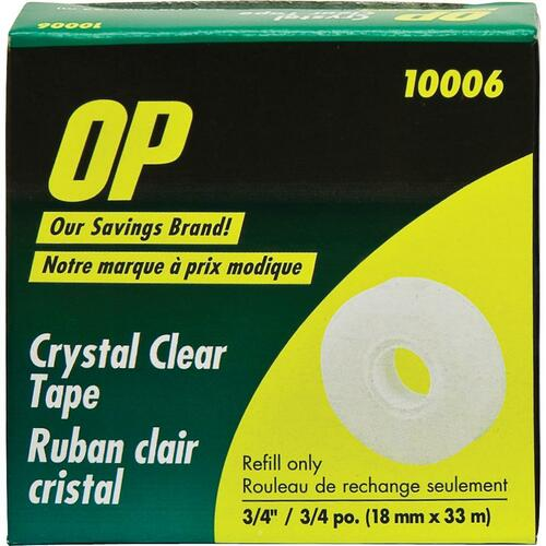 OP Brand Crystal Clear Tape Refill - 18mm Width x 33m Length - Clear