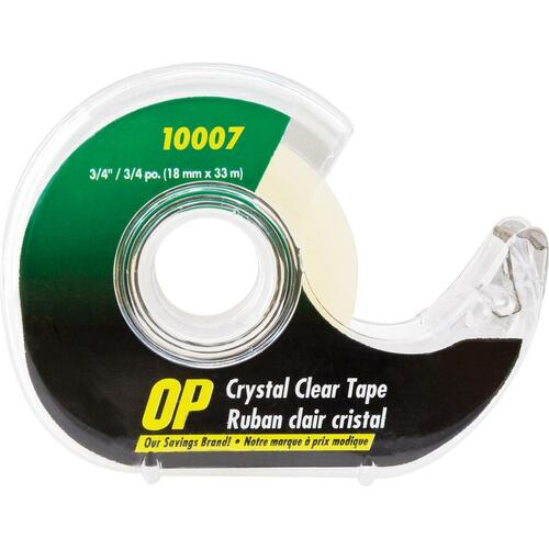 """OP Brand Crystal Clear Tape - 36.1 yd (33 m) Length x 0.71"""" (18 mm) Width - Dispenser Included - 1 Each - Clear"""