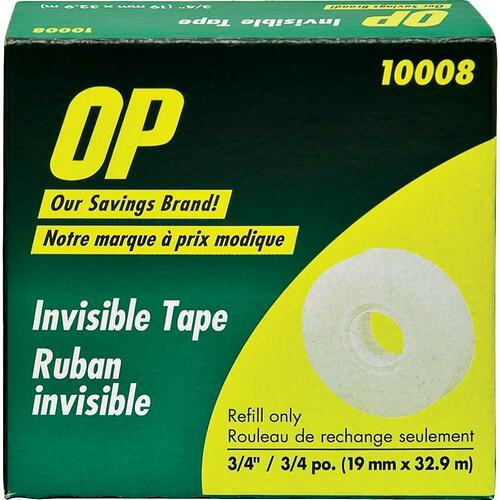 """OP Brand Invisible Adhesive Tape - 36 yd (32.9 m) Length x 0.75"""" (19 mm) Width - 1 Each"""