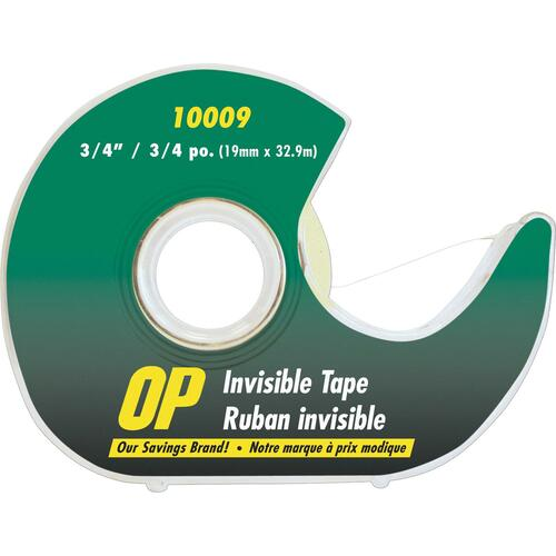 """OP Brand Invisible Adhesive Tape - 36 yd (32.9 m) Length x 0.75"""" (19 mm) Width - Dispenser Included - 1 Each"""