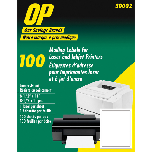 "OP Brand Mailing Label - 8 1/2"" Width x 11"" Length - 100 / Pack - Rectangle - Laser, Inkjet - White"