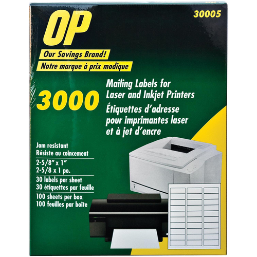"""OP Brand Mailing Label - 2 5/8"""" x 1"""" Length - Permanent Adhesive - Rectangle - Laser, Inkjet - White - 3000 / Pack"""