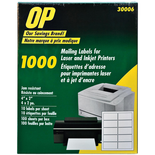 """OP Brand Mailing Label - 4"""" x 2"""" Length - Permanent Adhesive - Rectangle - Laser, Inkjet - White - 1000 / Pack"""