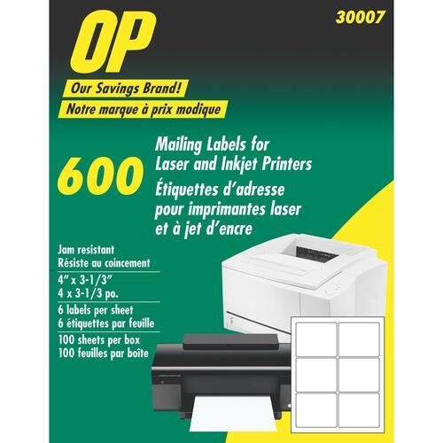 "OP Brand Mailing Label - 4"" Width x 3 1/3"" Length - 600 / Pack - Rectangle - Laser, Inkjet - White"