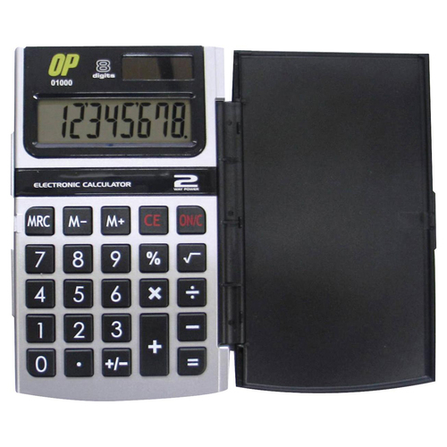 """OP Brand Handheld Calculator - 8 Character(s) - Solar, Battery Powered - 2.8"""" x 4.5"""" x 0.5"""" - Black and Silver"""
