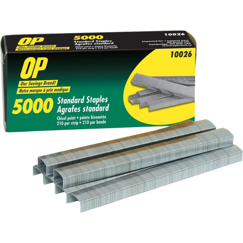 "OP Brand Standard Staples - 210 Per Strip - Chisel Point - 1/4"" Leg - 5000/Box"